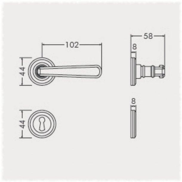 Door handle - Interior - Italian door handle - Brass - Rosette and Escutcheon - Model CHIARA