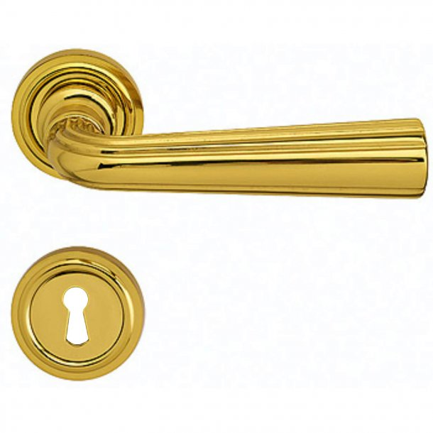 Door handle - Interior - Italian door handle - Brass - Rosette and Escutcheon - Model DUCALE
