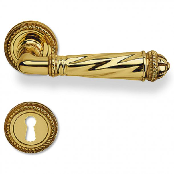 Door handle - Interior - Italian door handle - Brass - Rose and Escutcheon - Model FUNE
