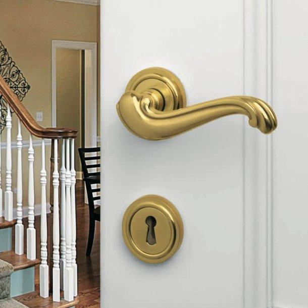 Door handle - Interior - Italian door handle - Brass - Rosette and Escutcheon - Model BAROCCO