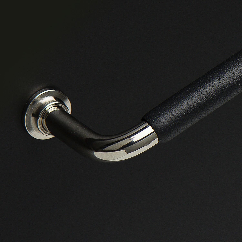 Møbelgreb - Sort læder - Blank nikkel - Villahus.dk