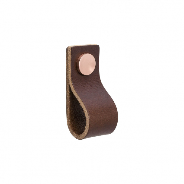 Furniture Handle - Brown leather and Copper button - Model LOOP