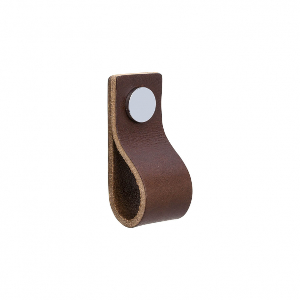 Furniture Handle - Brown leather and Chrome button - Model LOOP