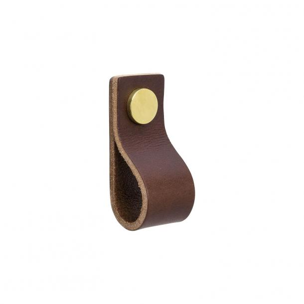 Möbelgriff - Braun Leder und poliertes Messing - Modell LOOP