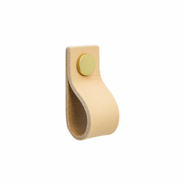 Furniture Handle - Natural leather and brass button - Model LOOP
