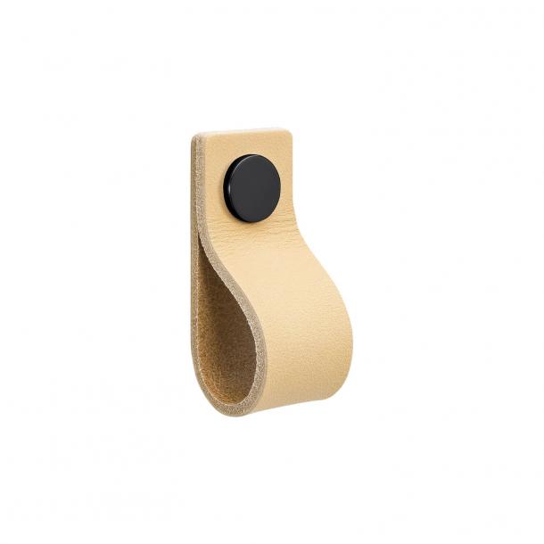 Möbelgriff - Naturleder und schwarzer Knopf - Modell LOOP
