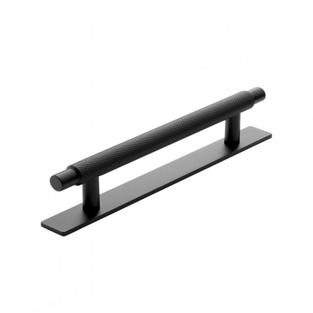 Furniture handle - Matt black - Model Model MANOR / Back plate - cc128 mm