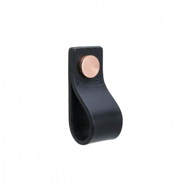 Furniture Handle - Black leather and copper button - Model LOOP