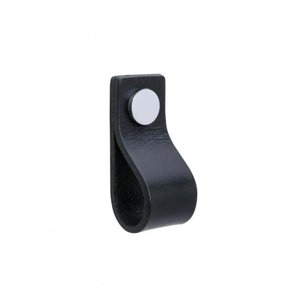 Møbelgreb - Sort læder og krom knap - Model LOOP