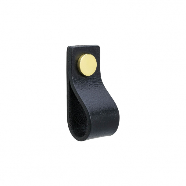 Furniture Handle - Black leather and polished Brass - Model LOOP