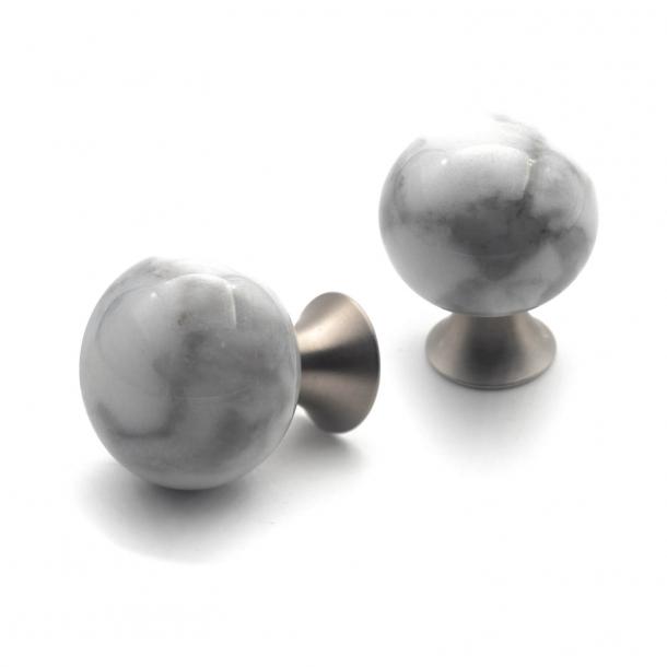 Furniture knob - White marble - BEAD STRAIGHT - Matt brass - 28 x 36 mm