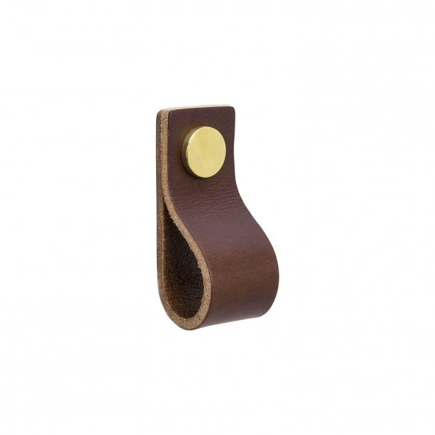 Furniture Handle - Brown leather and polished Brass - Model LOOP