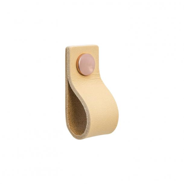 Möbelgriff - Naturleder und Kupfer Knopf - Modell LOOP