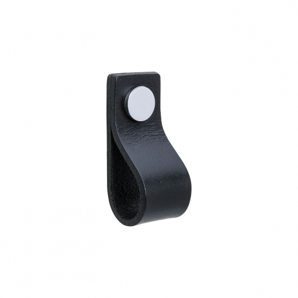 Furniture Handle - Black leather and chrome button - Model LOOP