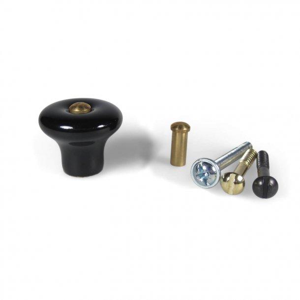 Furniture Knob 3732 - Black Porcelain - cc20mm