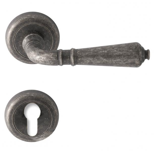 Door handle - Antique iron - Europrofile cylinder - Model ANTIQUE