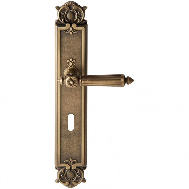 Door handle back plate, Key hole, Antique bronze, Interior - Model CHATEAU