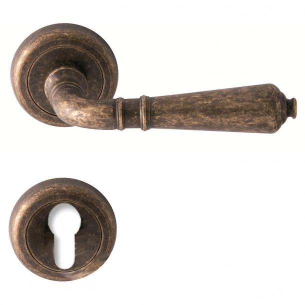 Door handle - Bronze - Europrofile cylinder - Comit Model ANTIQUE