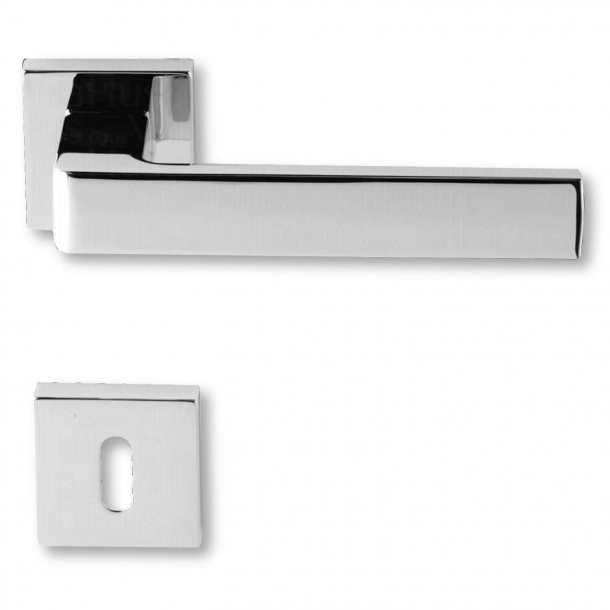 Door handle with keyhole, Chrome, Interior, Model BIBLO