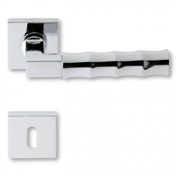 Door handle with keyhole, Chrome, interior, Model SNAKE