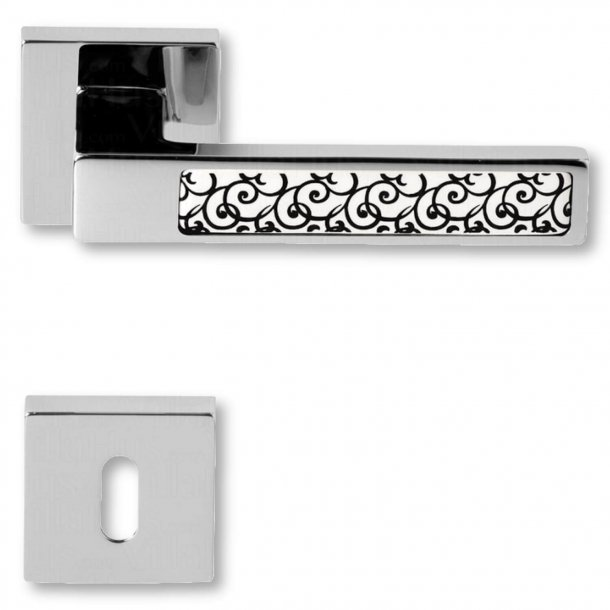 Door handle with keyhole, Chrome, interior, Model BILBAO ceramics