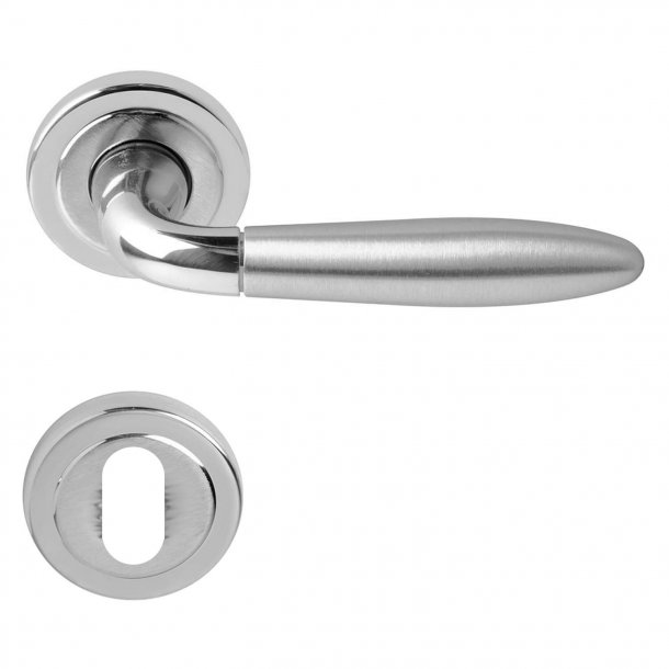 Door handle, Polished/Satin chrome, Interior - Model FUTURA