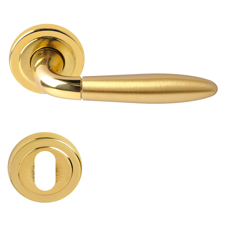 Door Handle Polished Satined Brass Interior Model