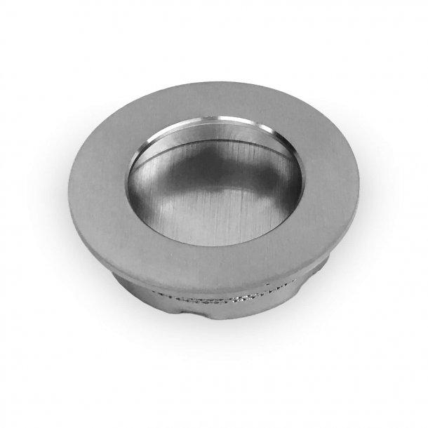 Sliding door flush handle - Satin chrome - 48 mm
