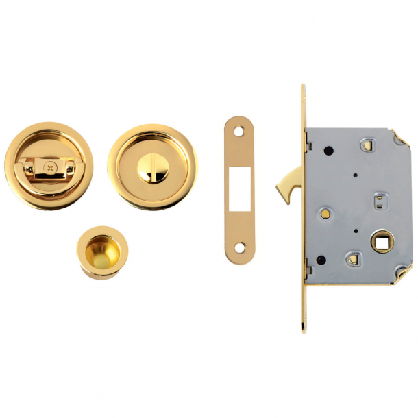 Skydedørsskåle med låsekasse - Messing - NIC 102