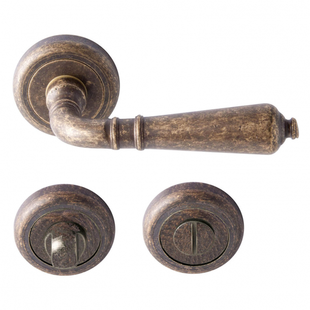 Klamka z blokadą WC- brąz -wewnętrzna - model ANTIQUE