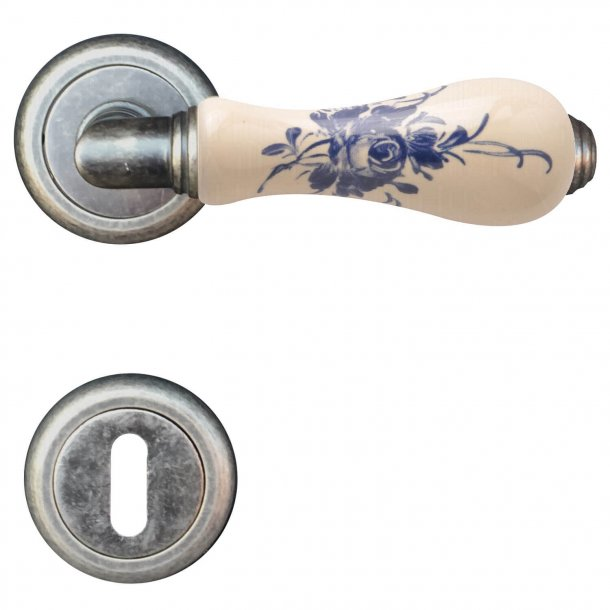 Door handle Porcelain blue - Antique iron, Model Barocco