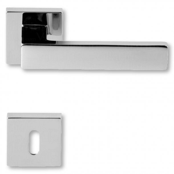 Door handle with keyhole, Chrome, interior, Model BILBAO