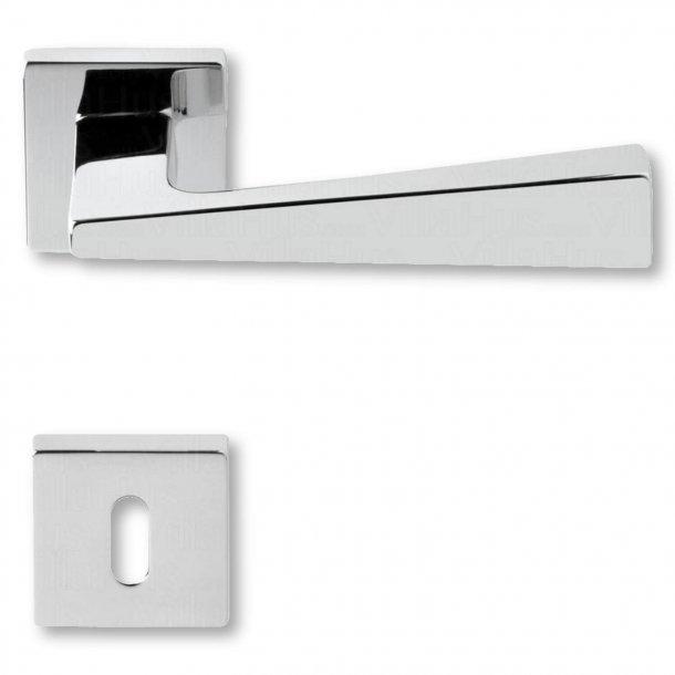 Dørgreb med nøglehul, krom, indendørs, Model KUBIC