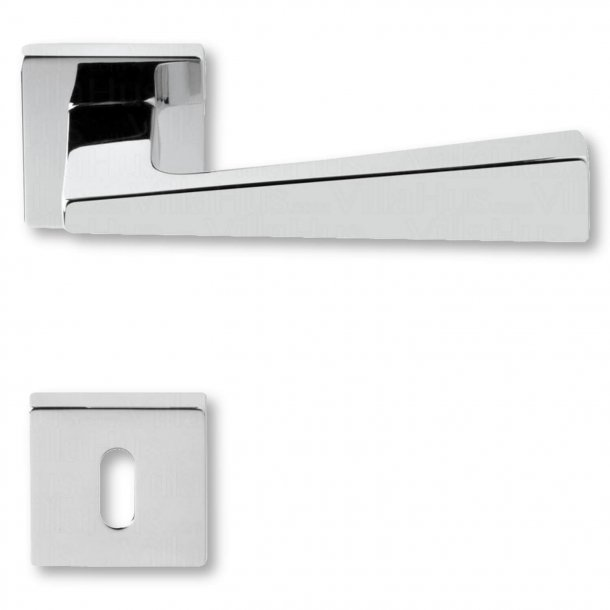 Door handle with keyhole, Chrome, interior, Model KUBIC