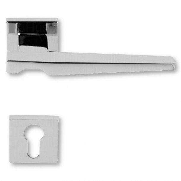 Door handle with cylinder hole, Chrome, exterior, Model VERTIGO