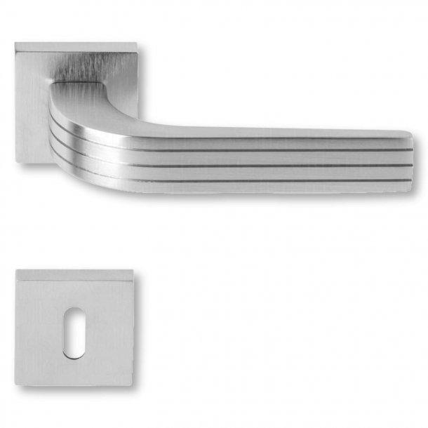 Door handle satin chrome - Navy with Lines