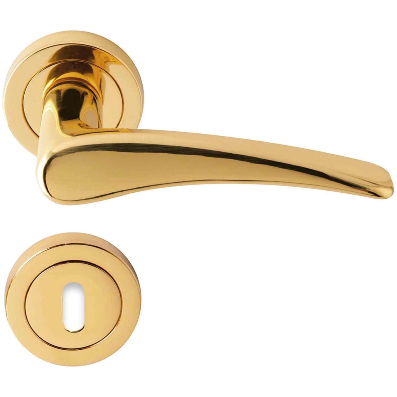 Door handle rose brass model phedra brass door for Door handle company