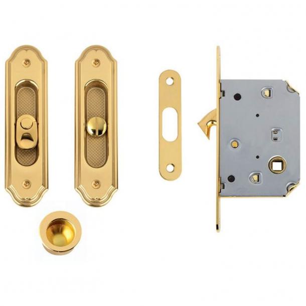 Klamki do drzwi przesuwnych z obudową zamka - Mosiądz - Comit Model K501