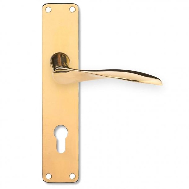 Arne Jacobsen door handle on back plate - Brass - Large model - AJ111 - cc92mm