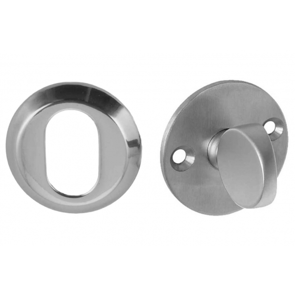 Arne Jacobsen cylinder ring and Thumb turn - Brushed steel - Oval, 6 mm
