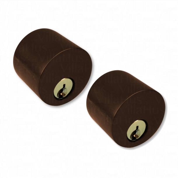 Langskilt Cylinderlås ude og inde - Bruneret Messing - Kop sikkerheds afskærmning