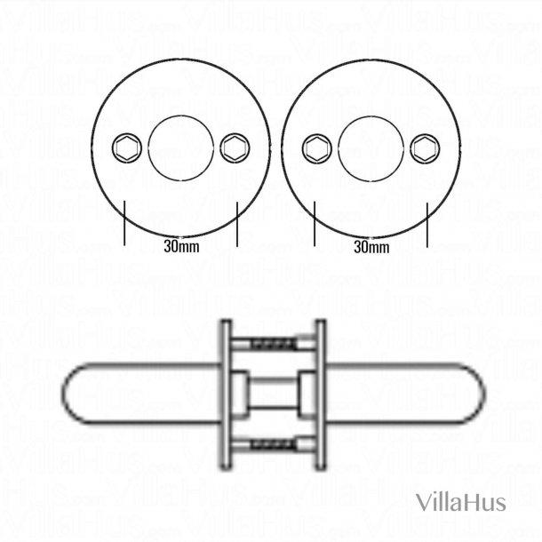 Arne Jacobsen dørhåndtag - AJ97 dørgreb - Bruneret Messing - Lille model - cc30mm