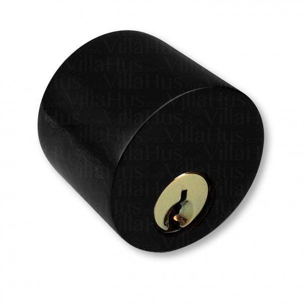 Arne Jacobsen door handle - AJ door handle - Back plate - Cylinder and thumb turn - Black