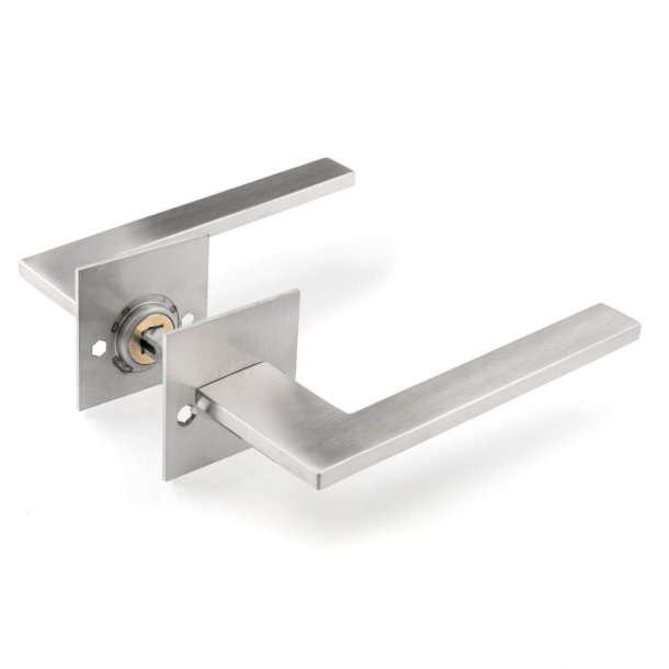 Brushed steel door handle -Schmidt Hammer Lassen - cc38mm