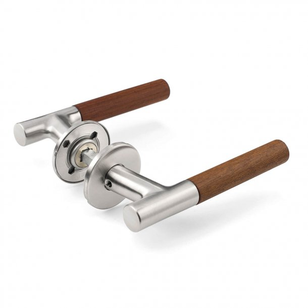 Wooden door handle - Teak wood & brushed steel  - Snap on cover - ÅRSTIDERNE
