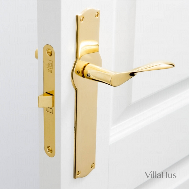 Arne Jacobsen door handle - AJ door handle - Brass - Model AJ97 on door back plate