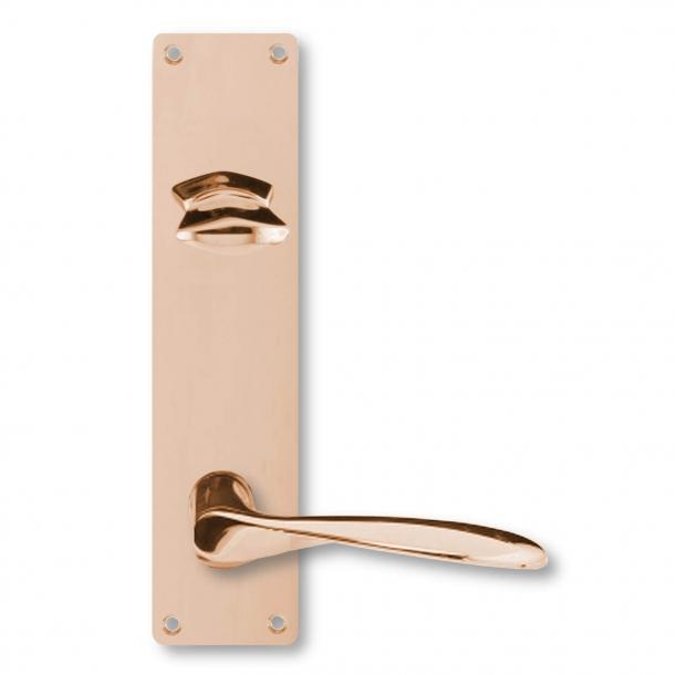 Arne Jacobsen dørhåndtag - AJ dørgreb - Kobber - Langskilt cylinderlås og vrider