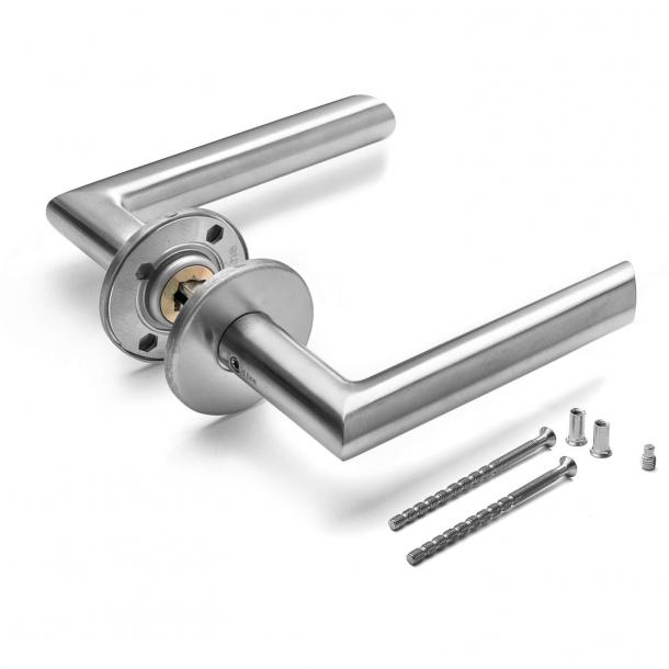 Türgriff - Gebürsteter Edelstahl - d line - Modell M-Griff 19 mm - Rosette mit Schnappdeckel
