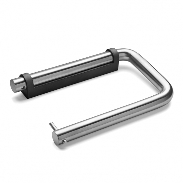 Toilet roll holder - d line - Brushed stainless steel - Black plastic