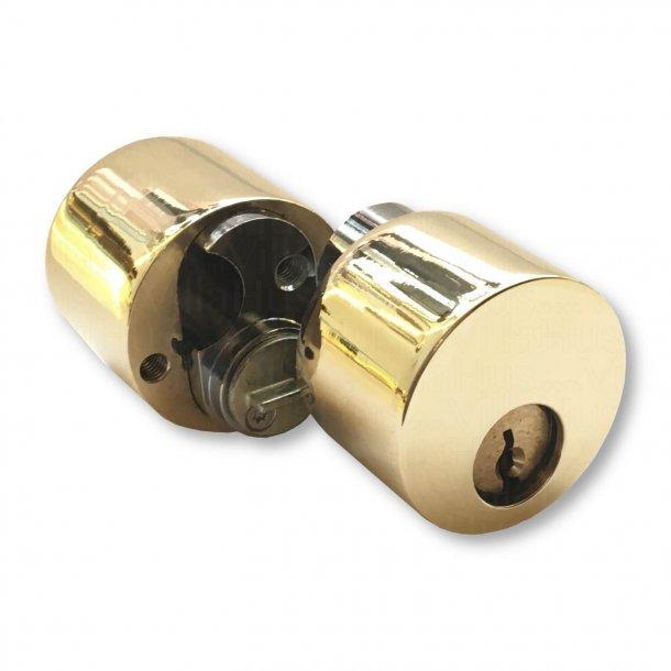 Dørgreb udendørs langskilt messing, Vrider og kop-afdækning, BRIGGS 132 mm